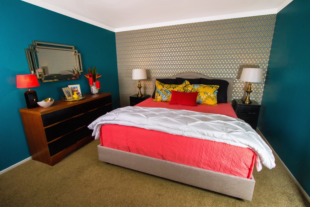 Coral Quilt Bedroom Eclectic with Art Deco Mirror Black and Brown Dresser Black Nightstands Brass Lamps Brown