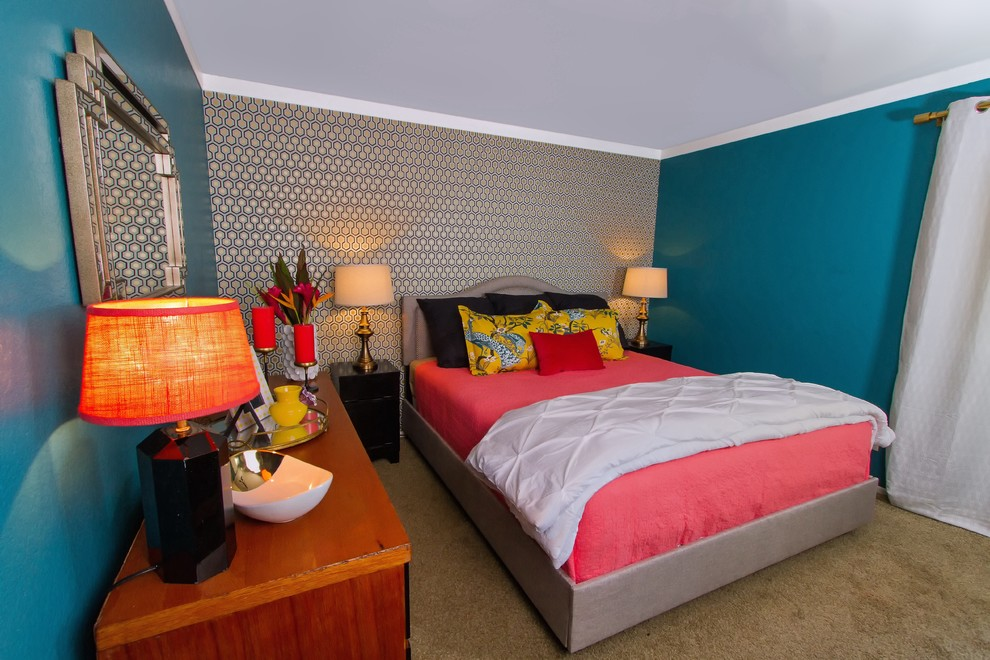 Coral Quilt Bedroom Eclectic with Art Deco Mirror Black Nightstands Coral Coral and Teal Coral Candles Coral