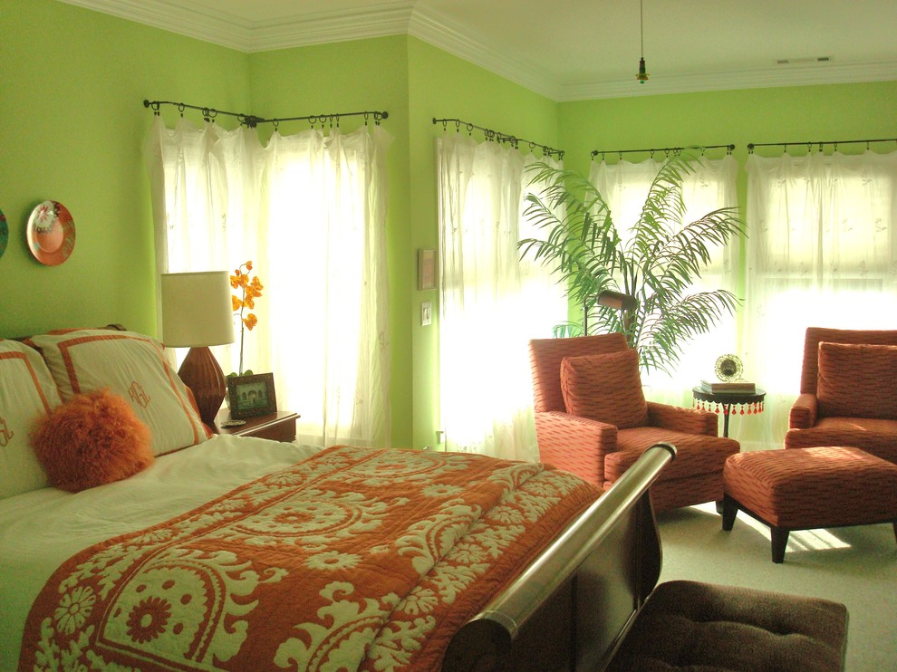 Coral Quilt Bedroom Eclectic with Color Fresh Island Feel Green Walls Lime Green Walls Orange Accents Orange