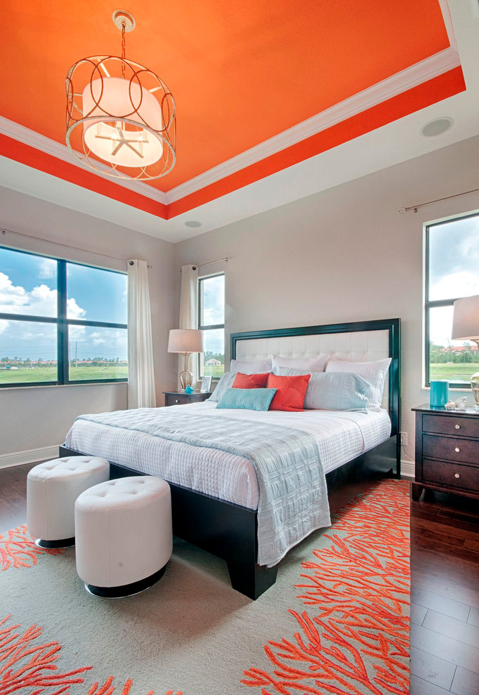Coral Rugs Bedroom Transitional with Bedroom Seating Ceiling Speakers Coral Curtain Rod Dark Wood Floor Drum Shade