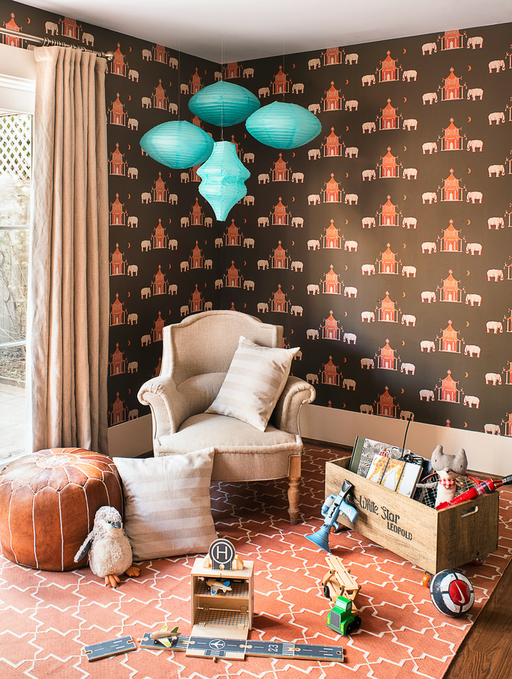 Coral Rugs Kids Transitional with Arm Chair Beige Curtain Brown Wallpaper Orange Rug Turquoise Paper Lanterns