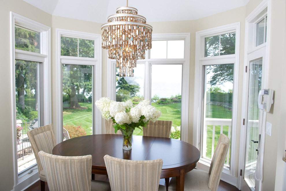 Corbett Lighting Dining Room Eclectic with Accessories Aqua Beach Glass Beach House Beading Bleeker Beige Celadon Chandelier Colonial