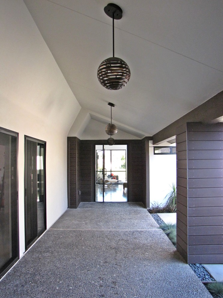 Corbett Lighting Entry Midcentury with Front Door Mid Century Modern Pendant Lamp Planting River Rock Walk Way Wood