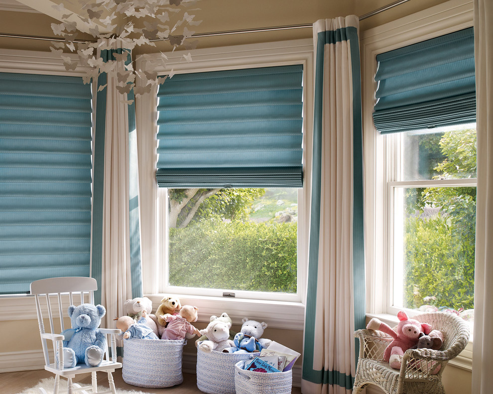 Cordless Roman Shades Nursery Transitional with Birmingham Bloomfield Hills Blue and White Side Panels Blue Roman Shades Butterfly