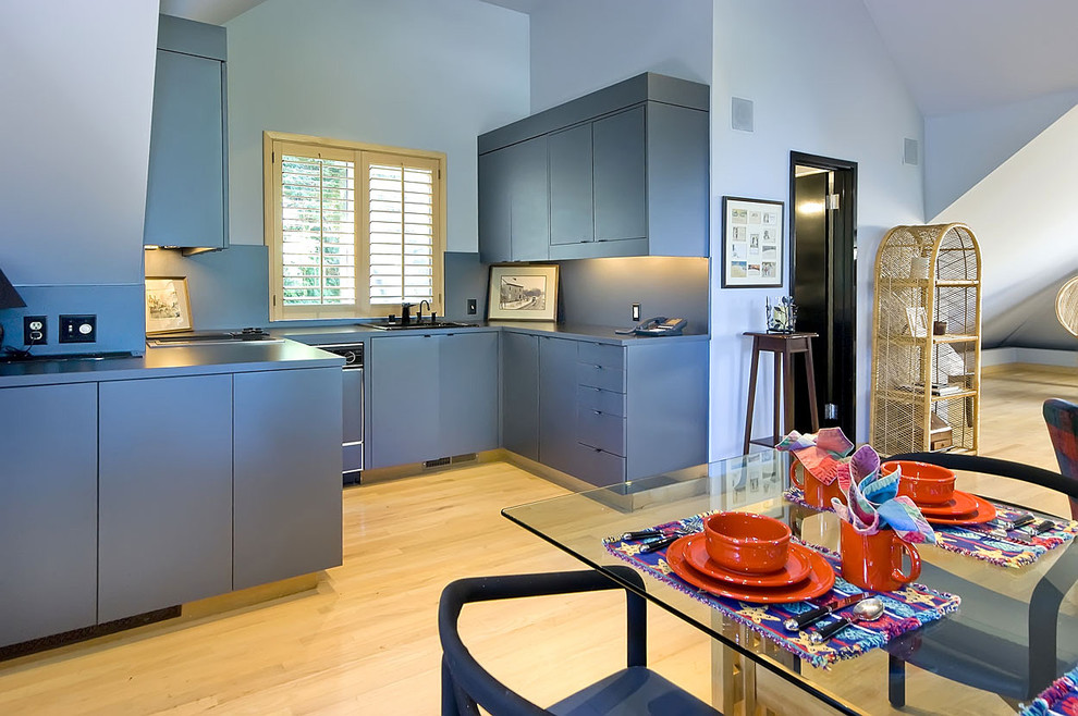 Corelle Dinnerware Kitchen Contemporary with Blue Cabinets Blue Kitchen Blue Walls Eat in Kitchen Glass Dining Table