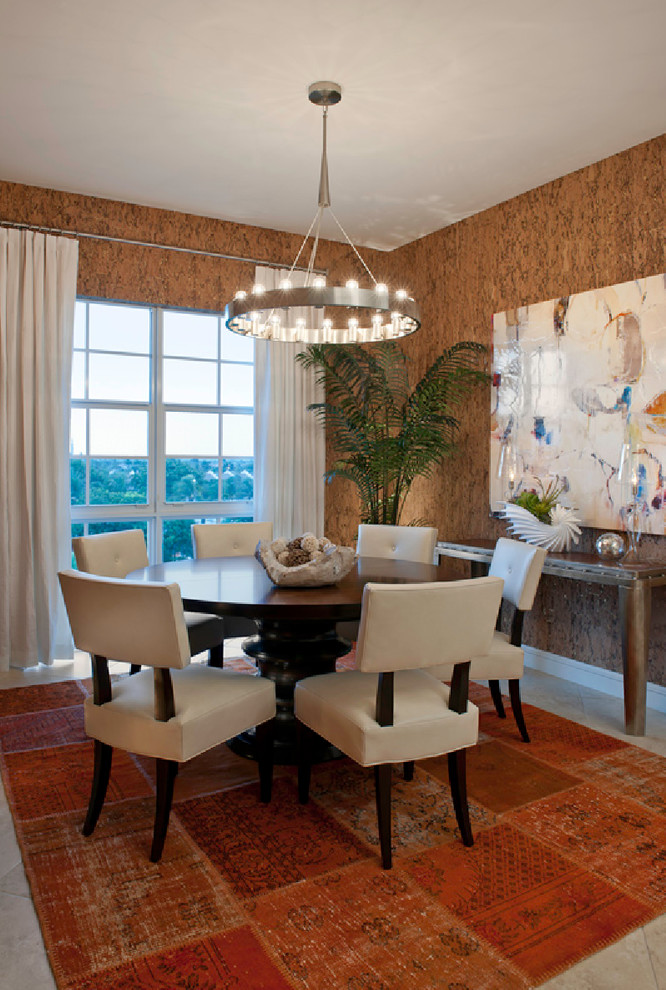 Cork Underlayment Dining Room Contemporary with Chandelier Contemporary Casual Cork Curtain Dining Chair Dining Table Large Painting Linen