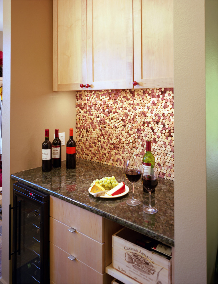 Cork Underlayment Kitchen Eclectic with Cork Backsplash Granite Countertops Shaker Style Under Cabinet Lighting Wine Backsplash Wine