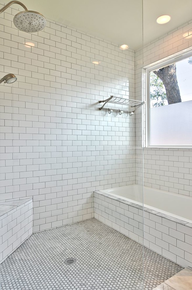 Corner Bench Seating Bathroom Transitional with Corner Bench Seat Glass Shower Panel Hexagon Tile Floor Large Window Marble