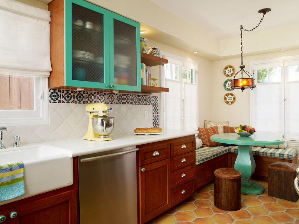 Corner Bench Seating Kitchen Mediterranean with Apron Front Sink Banquette Seating Ceramic Tile Floor Dark Stained Wood Cabinets