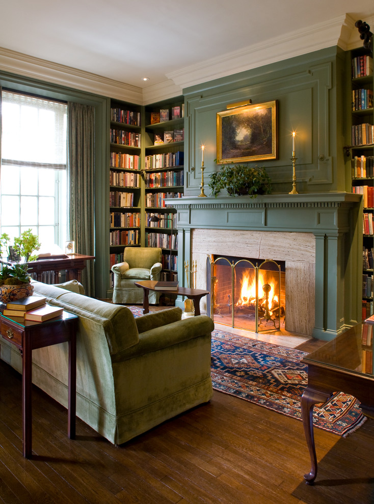 Corner Bookcase Family Room Traditional with Beige Molding Built in Bookcase Built in Bookshelf Candle Stick Fireplace Screen Fireplaces Green