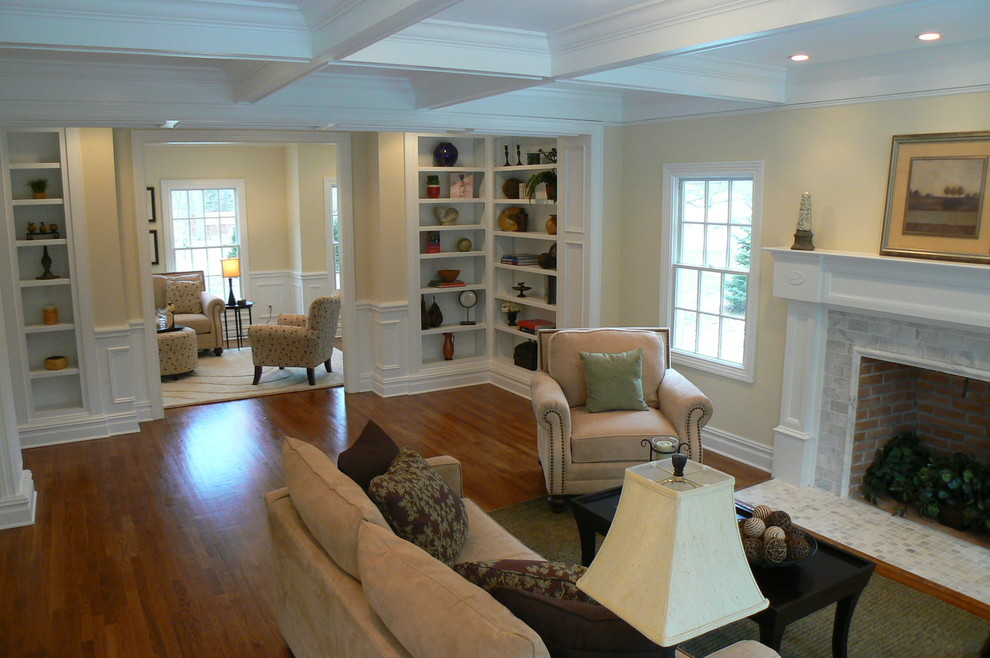 corner bookcase Family Room Traditional with none