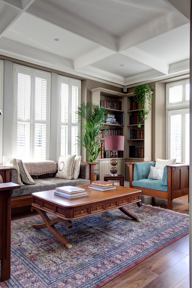 Corner Bookcase Living Room Traditional with Antique Rug Battersea Park Bespoke Bookshelf Coffee Table Books Coffee Table With