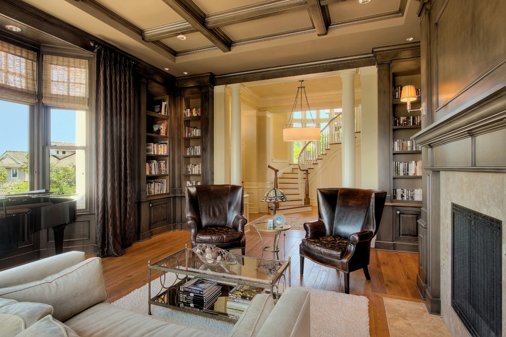 Corner Bookcase Living Room Traditional with Bay Window Built in Bookcase Ceiling Light Column Den Fireplace Glass Coffee Table