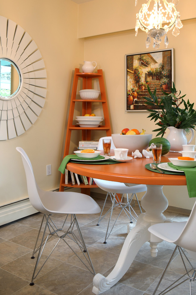 Corner Bookshelf Dining Room Eclectic with Chandelier Eiffel Chairs Kitchen Dining Area Orange Corner Bookshelf Sunburst Mirror Table
