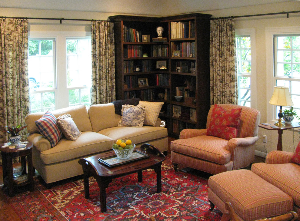 corner bookshelves Living Room Traditional with antique area rug bookcases curtains drapery English arm English Cottage with French