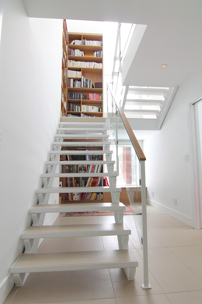 Corner Bookshelves Staircase Modern with Bench Seat Bookcase Books Bookshelves Corner Bookshelves Cream Floor Glass Stair Railing