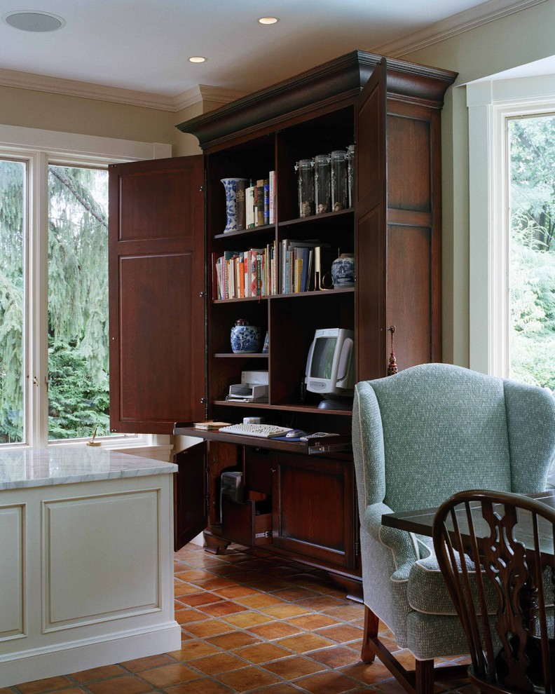 Corner Computer Desk with Hutch Home Office Traditional with Armoire Closet Office Crown Molding Tile Flooring Wardrobe White Wood Wingback Chair