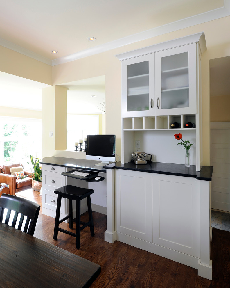 Corner Computer Desk with Hutch Kitchen Traditional with Beige Crown Molding Dining Table Drawer Pulls Frame and Panel Cabinets Frosted