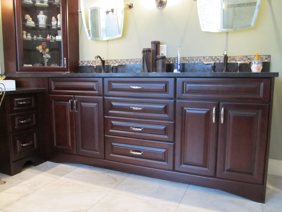 Corner Curio Cabinet Bathroom Traditional with Arched Toe Kick Blum Soft Close Doors and Drawers Corner Curio Cabinet