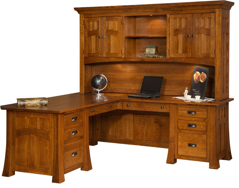 corner desk with hutch Spaces Craftsman with books Bridgefort Mission Corner Desk and Topper computer desk corner desk corner