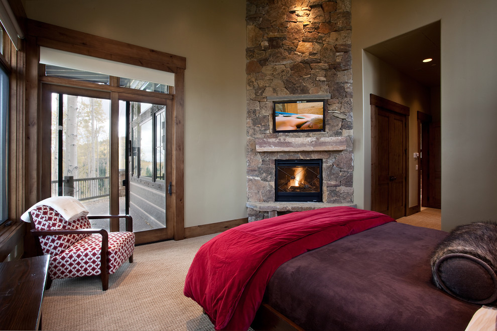 Corner Gas Fireplace Bedroom Rustic with Balcony Bolster Carpeting Corner Dark Stained Wood Fireplace Fur Porch Red Stone