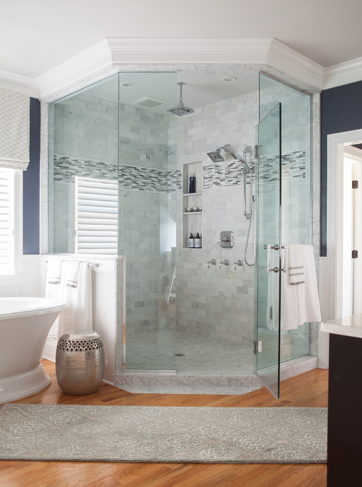 Corner Shower Stall Bathroom Traditional with Accent Tile Benjamin Moore Fossil Benjamin Moore Gray Owl Bianco Carrara Chrome