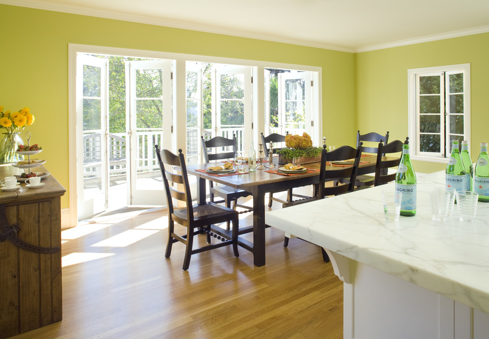 Corningware French White Dining Room Traditional with Balcony Casement Windows Chartreuse Crown Molding Deck Farmhouse Dining Table French Doors