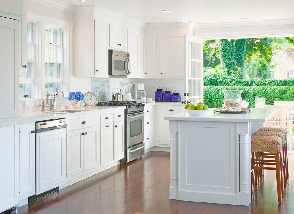 Corningware French White Kitchen Traditional with Crown Molding Double Hung Windows Frame and Panel Cabinets French Doors Integrated