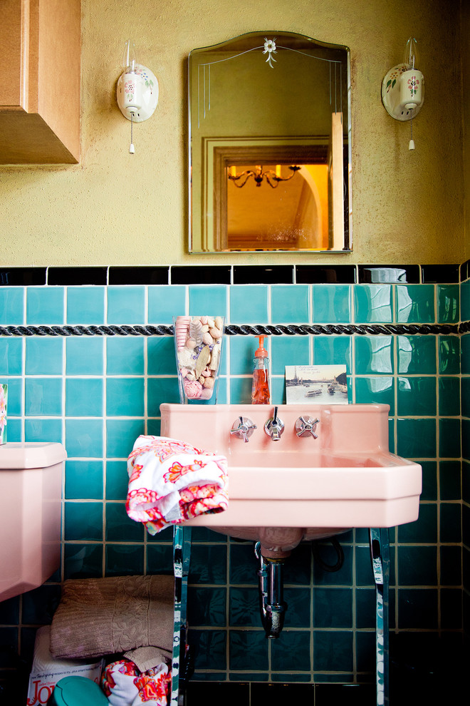 Cotton Candy Machine for Sale Bathroom Mediterranean with 1920s Addition Antiquated Black Tile Border Blue Tile Cross Handles Custom Fixtures