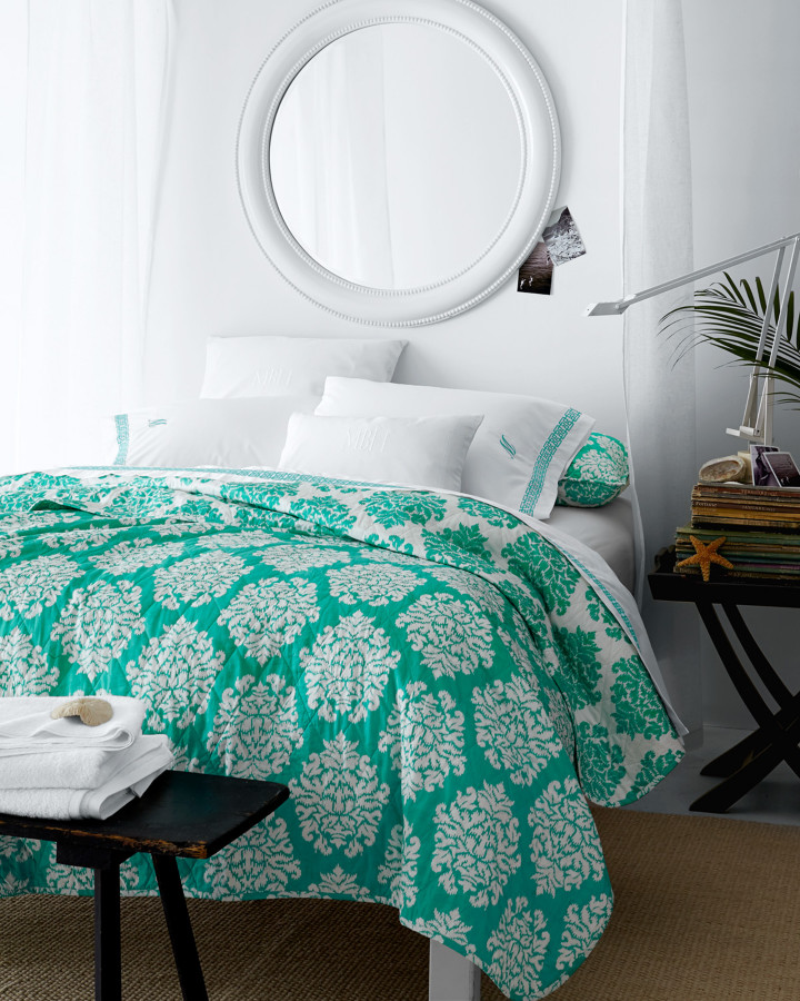 Cotton Percale Bedroom Tropical with Embroidered Sheets Ikat Bedding Monogrammed Bedding Turquoise Bedding