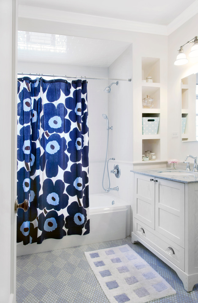 Cotton Shower Curtains Bathroom Traditional with Bath Mat Bathtub Blue and White Built in Shelves Chair Rail Cool Colors
