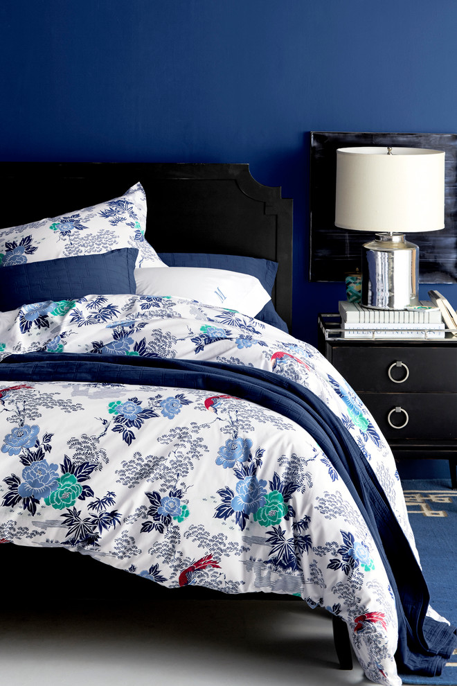 Cotton Shower Curtains Bedroom Traditional with Black Bed Black Side Table Blue Quilt Blue Rug Blue Walls Metallic