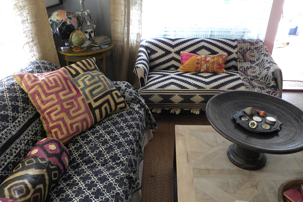 couch and loveseat Living Room Eclectic with coffee table ethnic textiles ikat settee sitting room suzani wisteria