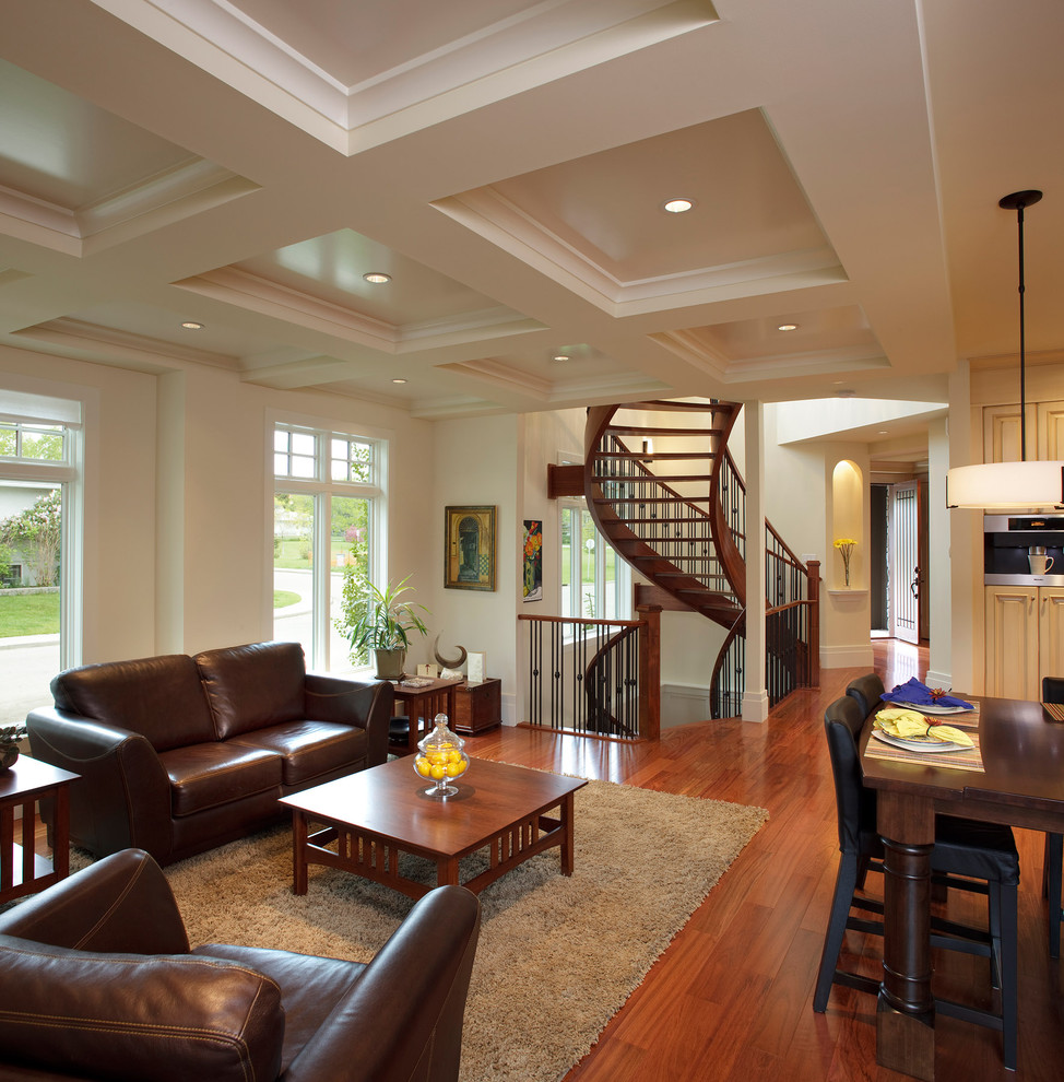 Couch and Loveseat Living Room Traditional with Area Rug Coffee Table Coffered Ceiling Curved Staircase Dining Table Farm Table