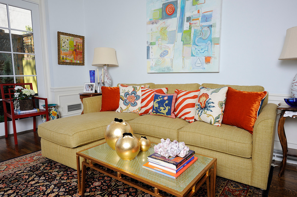Couches for Small Spaces Living Room Eclectic with Area Rug Artwork Coffee Table Decorative Pillows French Door Gold Red Velvet1
