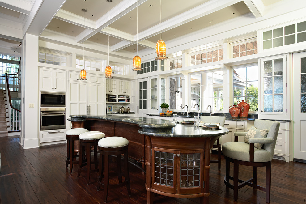 Counter Height Chairs Kitchen Victorian with Breakfast Bar Clerestory Dark Floor Double Ovens Eat in Kitchen Glass Front