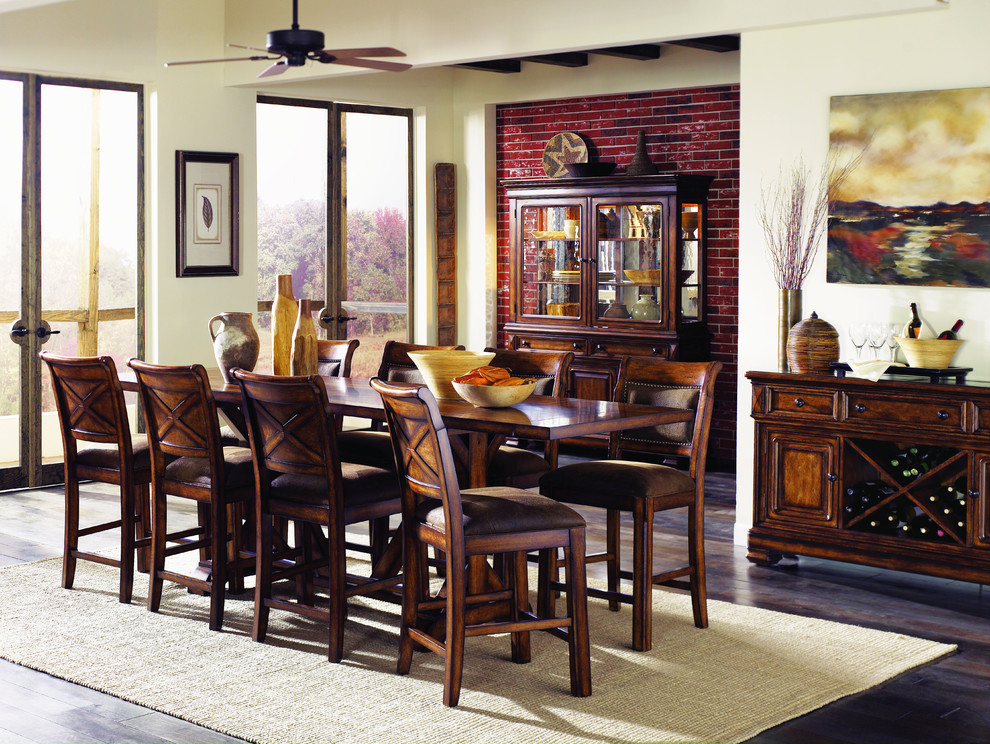 Counter Height Kitchen Table Dining Room Traditional with Brown Chair Counter Credenza Cushion Dining Game Gathering Height Padding Pub Red