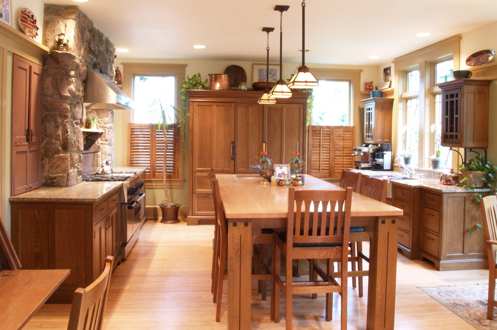 Counter Height Kitchen Table Kitchen Craftsman with Appliances Cabinetry Concealed Appliances Concealed Refrigerator Cottage Counter Tops Cabinets Country Kitchen