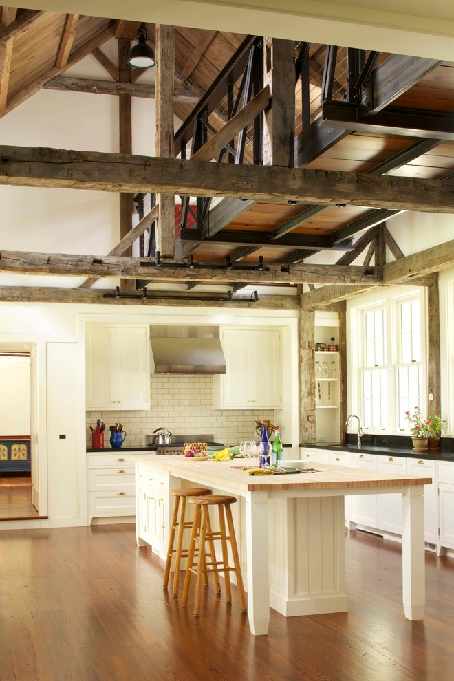 Counter Height Kitchen Table Kitchen Farmhouse with 3x6 Subway Tile Barn Bridge Cathedral Ceiling Catwalk Farmhouse High Ceiling Island