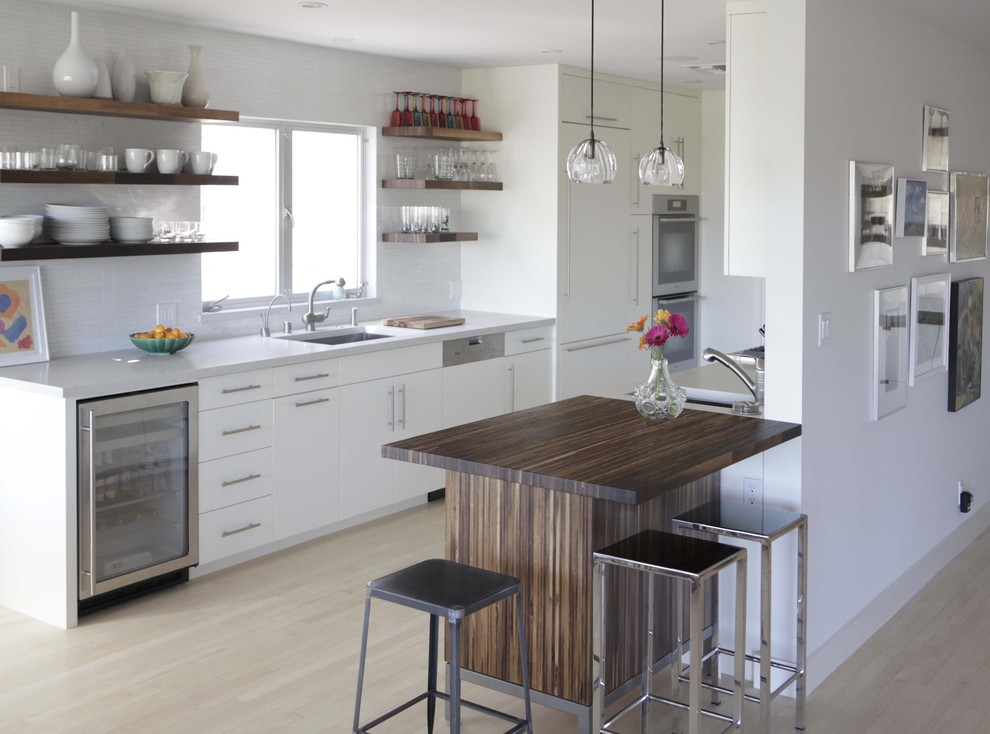 counter height kitchen table Kitchen Modern with cabinet front refrigerator cafe table casement windows eat in kitchen floating shelves