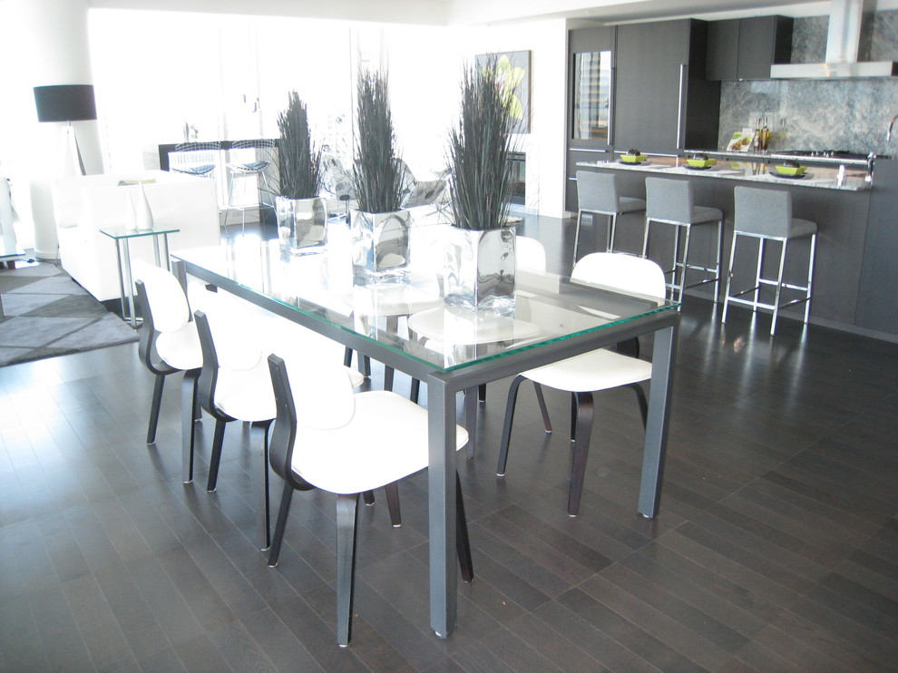 Counter Height Kitchen Table Living Room Contemporary with Area Rug Breakfast Bar Centerpiece Chrome City View Contemporary Dark Wood Floors