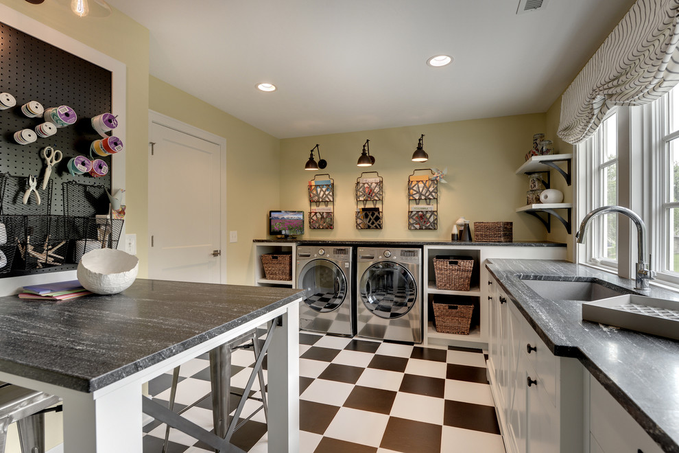 counter height stools Laundry Room Traditional with checkerboard tile floor craft room front loading washer and dryer magazine racks
