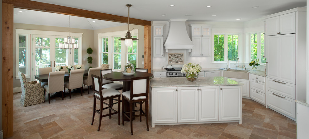Counter Height Table and Chairs Kitchen Traditional with Beige Countertop Beige Farmhouse Sink Beige Upholstered Dining Chairs Beige Walls French