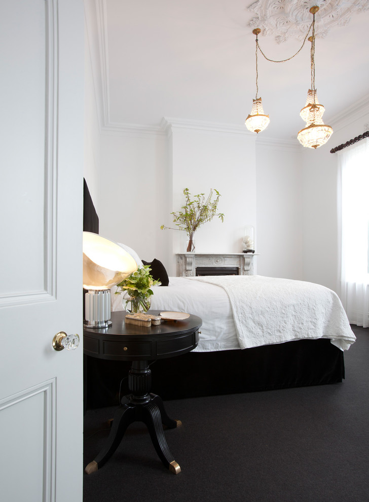 Coverlet Bedroom Contemporary with Black and White Ceiling Medallion Chandelier Charcoal Gray Rug Deco Table Lamp