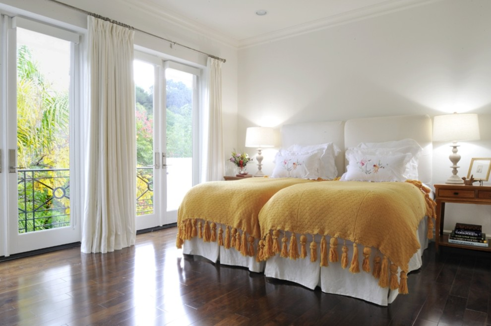 Coverlet Bedroom Traditional with Belgian Linen Curtain Belgian Linen Upholstered Headboard Dark Wood Floor Glass Double