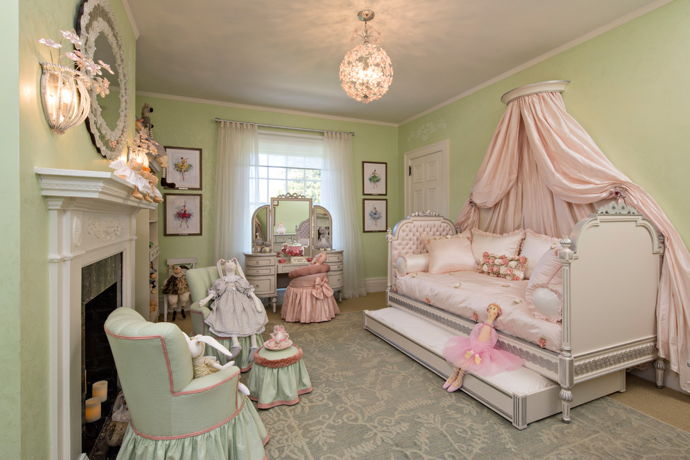 Coverlet Kids Traditional with Canopy Bed Chandelier Daybed Green Chairs Light Green Walls Light Pink Pale