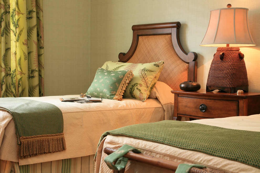 Coverlets Bedroom Tropical with Fabric Wall Covered Green Pale Pink Pattern Curtains Stripes Upholstered Headboard Wicker