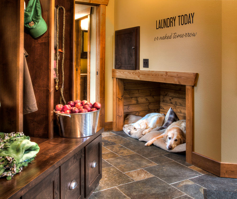 Cozy Cave Dog Bed Entry Rustic with Built in Bench Built in Cabinetry Cabin Cottage Dog Beds and Cat