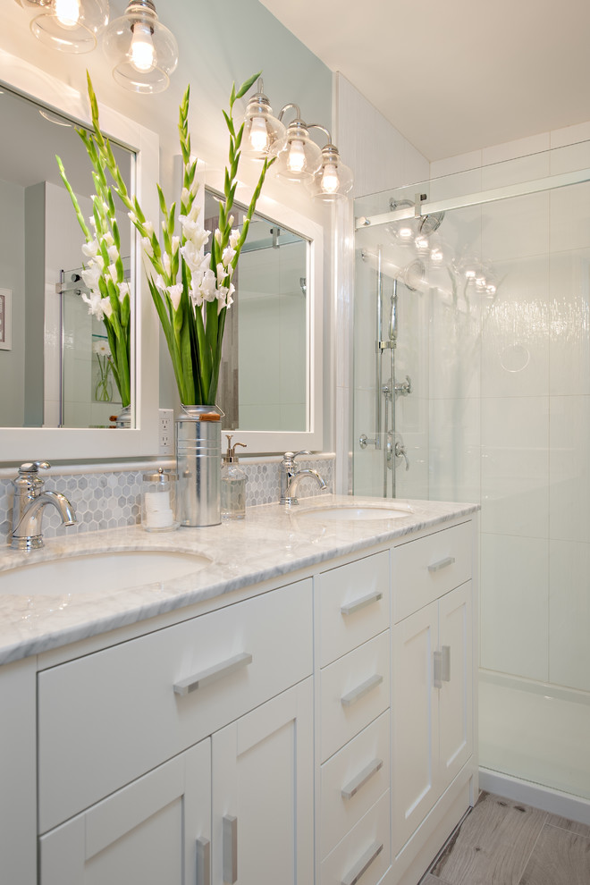 craftmade Bathroom Traditional with blue and white cape cod clean double vanity eclectic lighting faux wood