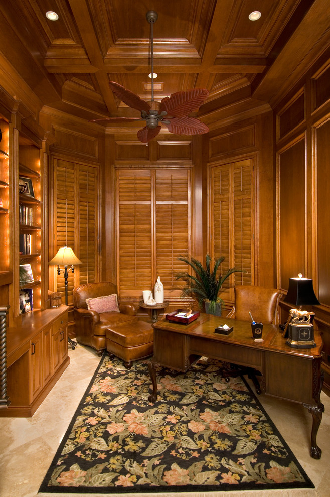 craftmade Home Office Tropical with ceiling fan coffered ceiling earth tones floral area rug Kevin Williams KWC